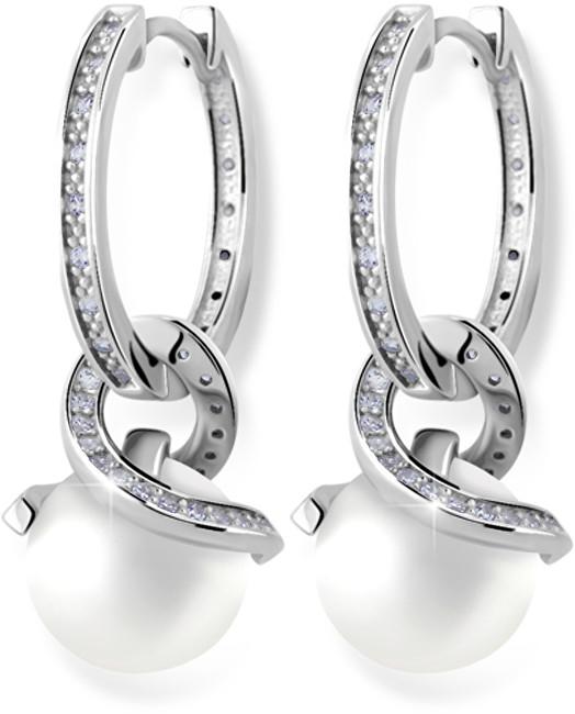 Zodiax Náušnice kroužky z bílého zlata s přírodní perlou a zirkony DLE 3126 W