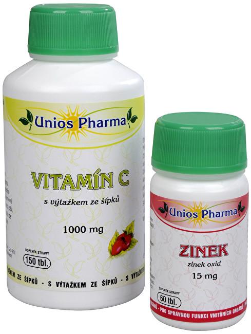 Zobrazit detail výrobku Unios Pharma Vitamín C 1000 mg se šípkem 150 tbl. + Zinek 15 mg 60 tbl. ZDARMA