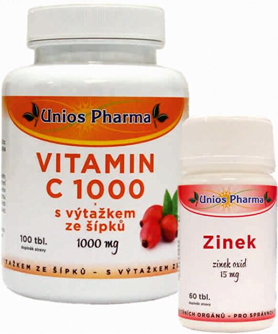 Vitamín C 1000 mg se šípkem 150 tbl. + Zinek 15 mg 60 tbl. ZDARMA