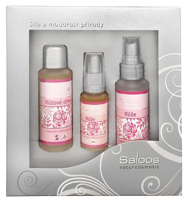 Zobrazit detail výrobku Saloos Dárková kazeta Růže tři kroky ke kráse: odličovací olej 50 ml, pleťová voda 50 ml, obličejový olej 20 ml