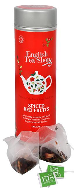 Čaj kořeněné červené ovoce - plechovka s 15 bioodbouratelnými pyramidkami
