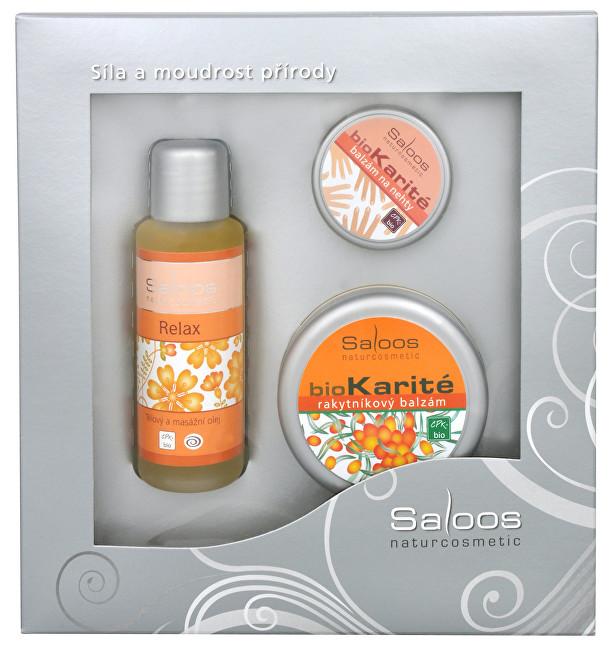 Saloos Relax olej 50 ml + Bio karité 50 ml + Bio karité na nechty 19 ml darčeková sada
