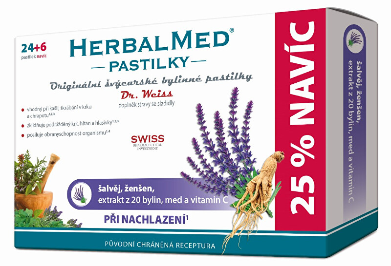 HerbalMed pastilky Dr. Weiss při kašli 24 pastilek + 6 pastilek ZDARMA