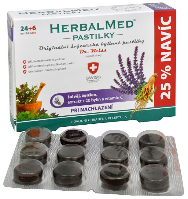 Zobrazit detail výrobku Simply You HerbalMed pastilky Dr. Weiss při nachlazení 24 pastilek + 6 pastilek ZDARMA