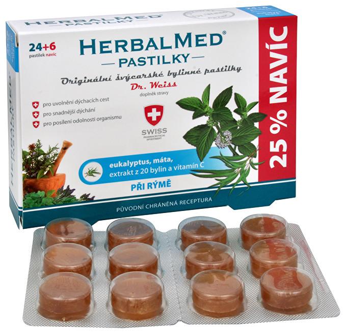 HerbalMed Dr.Weiss Eukalypt + máta + vitamín C 30 pastilek