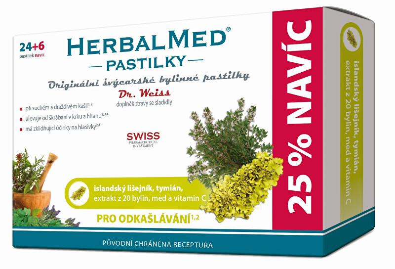 Zobrazit detail výrobku Simply You HerbalMed pastilky Dr. Weiss pro odkašlávání 24 pastilek + 6 pastilek ZDARMA