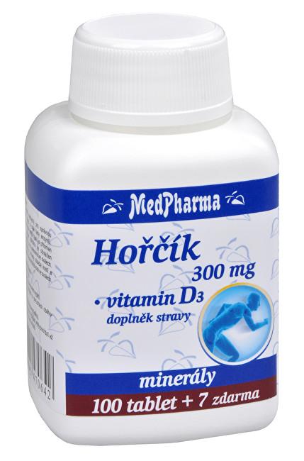 Hořčík 300 mg + vitamín D3 100 tbl. + 7 tbl. ZDARMA