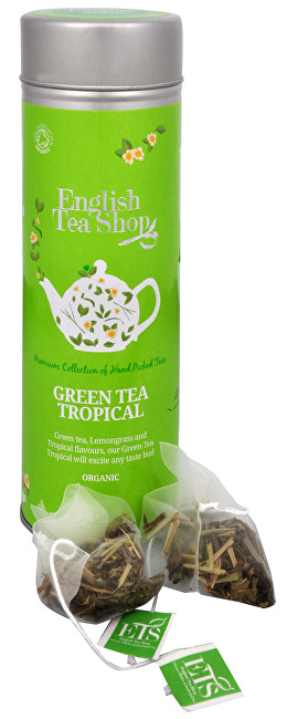 Zobrazit detail výrobku English Tea Shop Zelený čaj s infúzí tropického ovoce - plechovka s 15 bioodbouratelnými pyramidkami