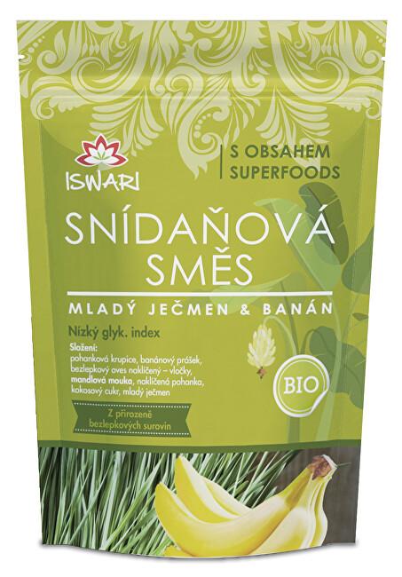 Iswari BIO Snídaňová směs Mladý ječmen, banán, naklíčená pohanka 300 g