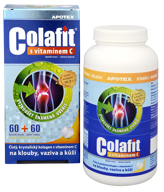 Colafit (čistý kolagen) s vitamínem C 60 kostiček + 60 tbl.