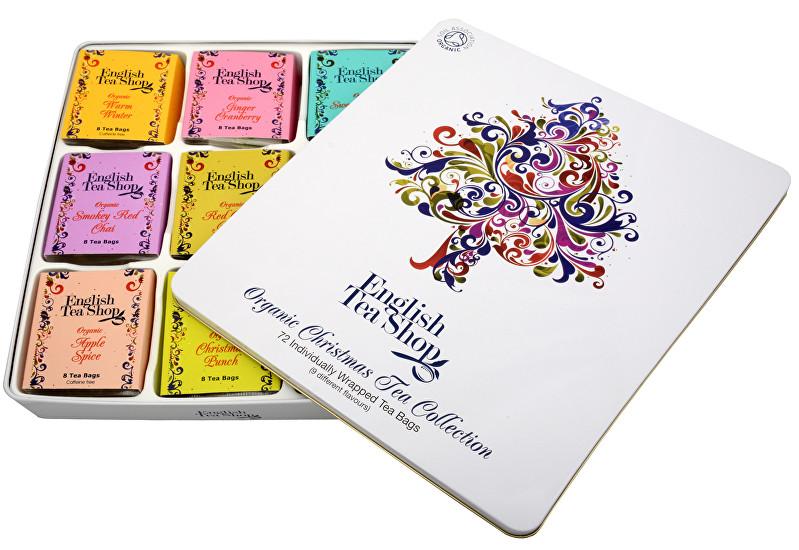 Zobrazit detail výrobku English Tea Shop Dárková plechová kazeta Vánoční strom - luxusní čaje 72 sáčků/9 příchutí