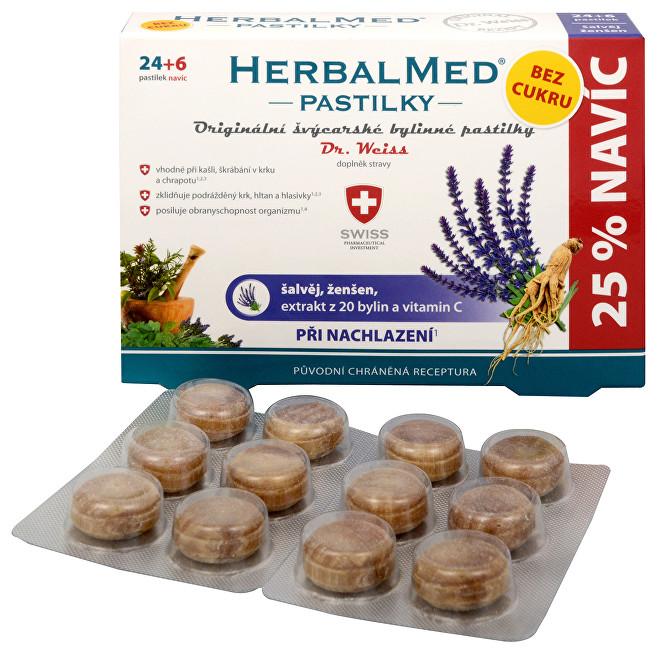 Zobrazit detail výrobku Simply You HerbalMed pastilky Dr. Weiss při nachlazení bez cukru 24 pastilek + 6 pastilek ZDARMA