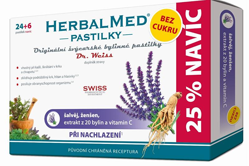 HerbalMed pastilky Dr. Weiss při nachlazení bez cukru 24 pastilek + 6 pastilek ZDARMA