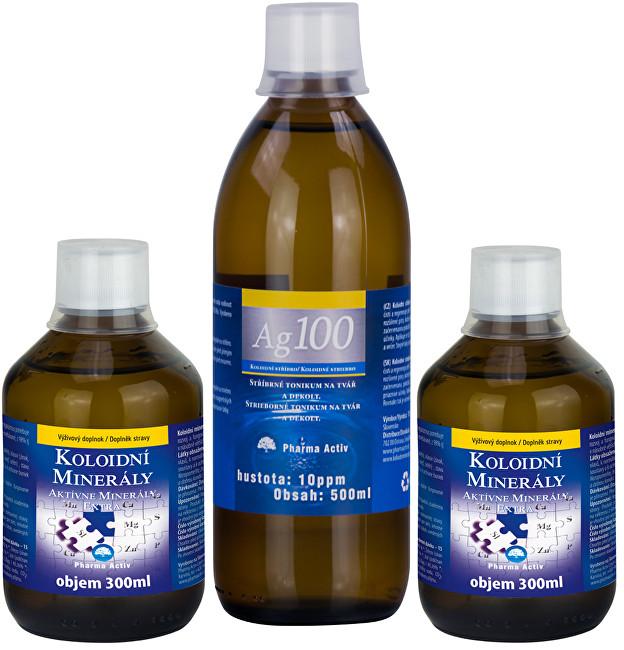 Koloidní minerály 2x 300 ml + Koloidní stříbro Ag100 (10ppm) 500 ml ZDARMA