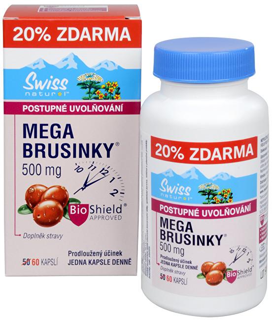 Mega Brusinky 500 mg 50 kapslí + 10 kapslí ZDARMA