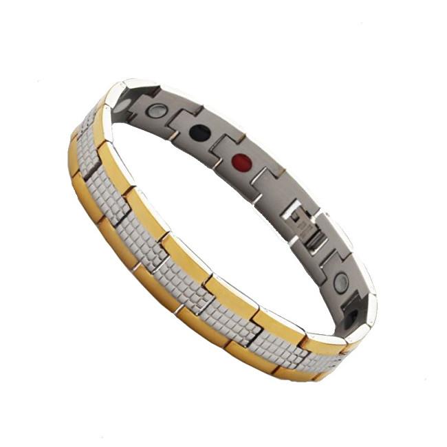 Euro Trade Plus Multifunkční magnetický náramek Zlato-stříbrný 21,2 cm