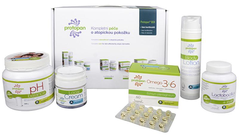 Herbo Medica Protopan® BOX: Protopan® Promašťovací krém 50 ml + Protopan® Promašťovací mléko 150 ml + Protopan® Probiotika + inulin 60 tob. + Protopan® Omega 3&6 60 tob. + Protopan® pH balance 321 g