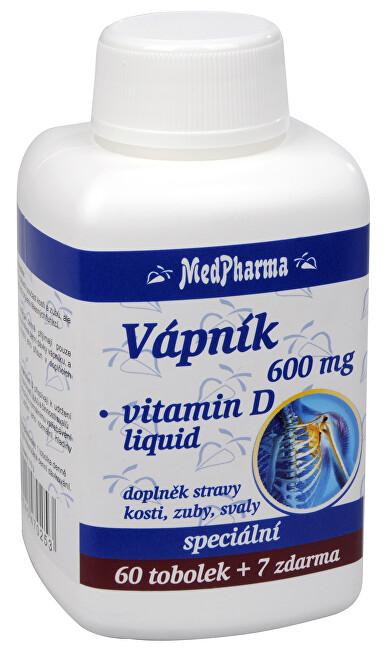 Vápník 600 mg + vitamín D liquid 60 tob. + 7 tob. ZDARMA