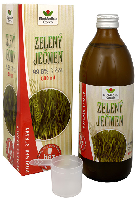 Zobrazit detail výrobku EkoMedica Czech Zelený ječmen - 99,8% šťáva ze zeleného ječmene 500 ml