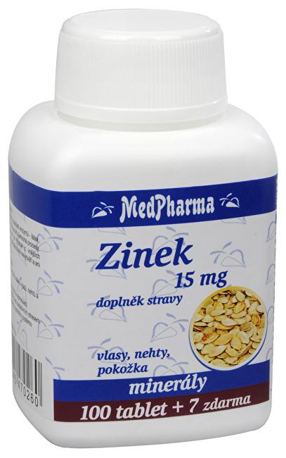Zinek 15 mg 100 tbl. + 7 tbl. ZDARMA