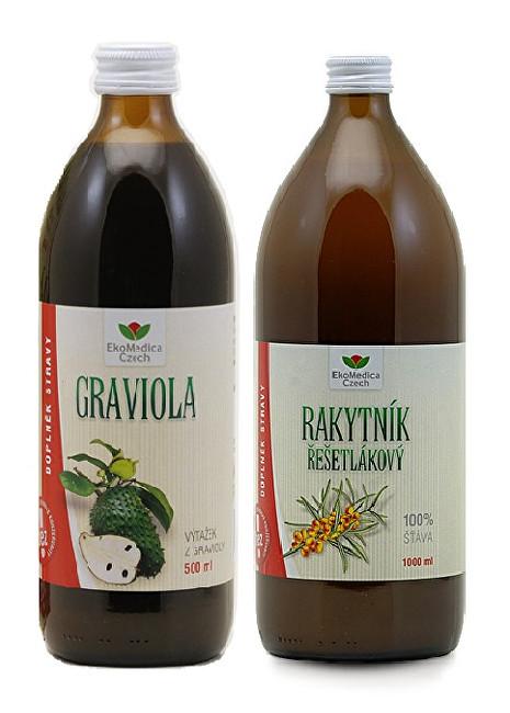 Graviola - 100% šťáva z gravioly 500 ml + Rakytník řešetlákový - 100% šťáva z rakytníku řešetlákového 500 ml