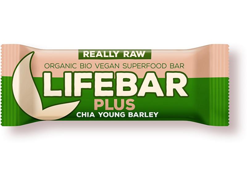 Lifefood Bio tyčinka Lifebar Plus chia semínka a mladý ječmen 47g