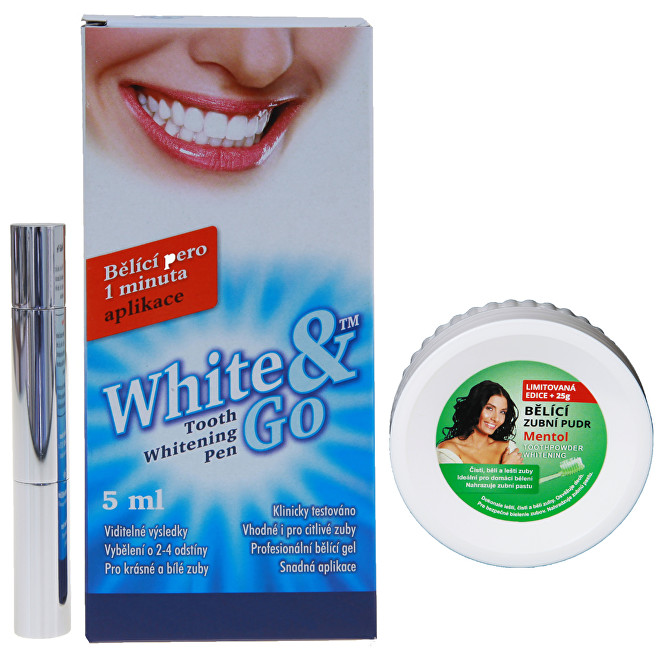 Eva Cosmetics Whitening Pen - bělící zubní pero 5 ml + Bělící zubní pudr Mentol 55 g ZDARMA