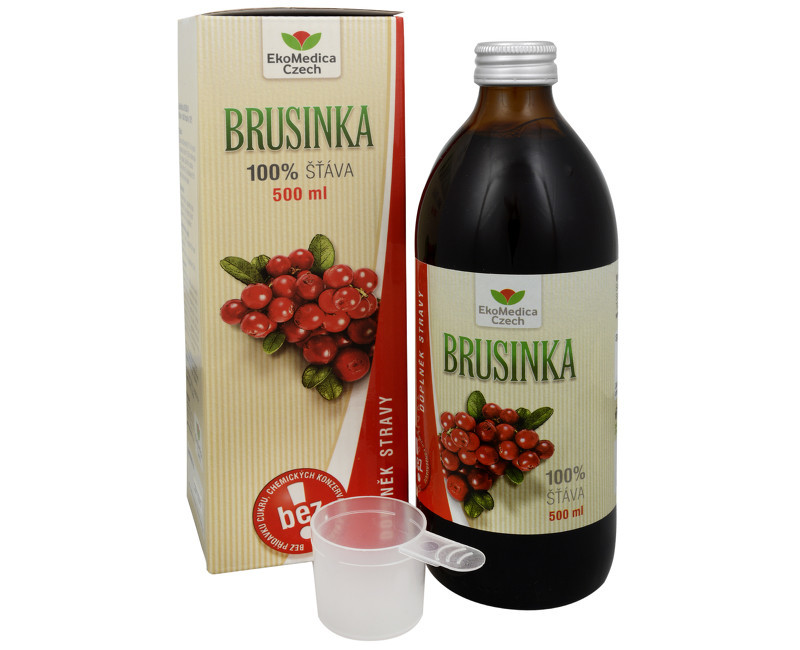 EkoMedica Czech Brusnica - 100% šťava z brusnice 500 ml