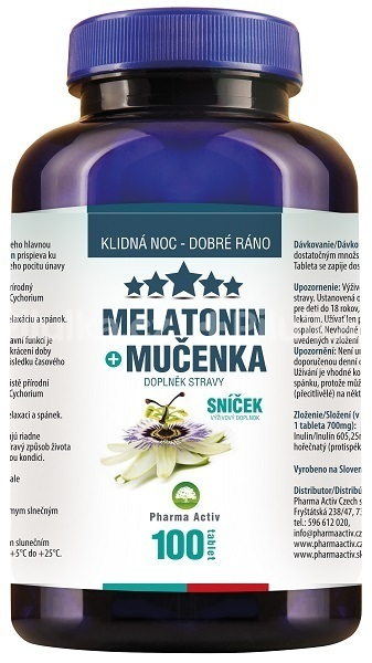 Zobrazit detail výrobku Pharma Activ Melatonin Mučenka 100 tbl. + meduňka čaj ZDARMA