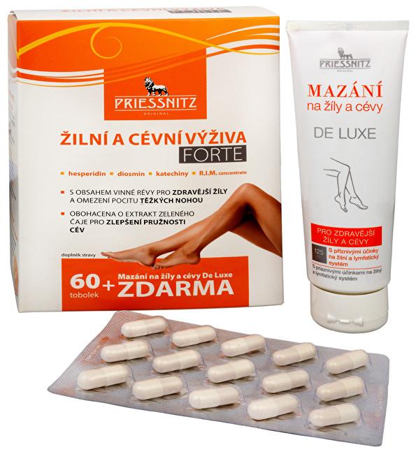Priessnitz Žilní a cévní výživa Forte 60 tob. + Mazání na žíly a cévy De Luxe 125 ml ZDARMA