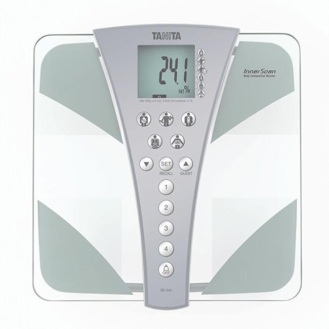 Tanita Stylová skleněná osobní digitální váha Tanita BC-543