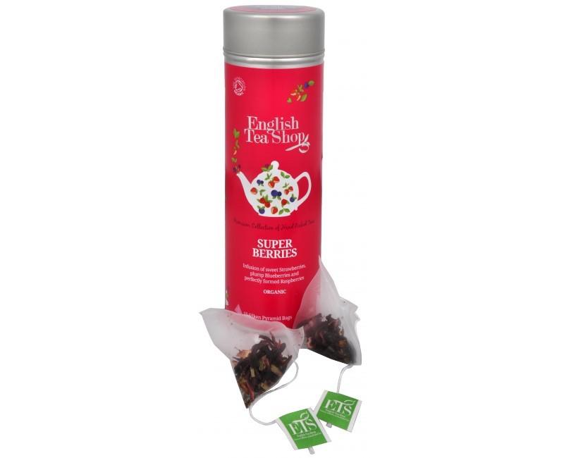 Super ovocný čaj Rooibos a červené ovoce - plechovka s 15 bioodbouratelnými pyramidkami