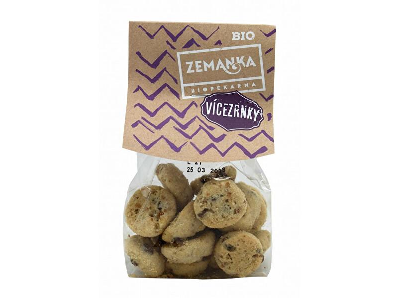 Zobrazit detail výrobku Biopekárna Zemanka Bio Vícezrnné sušenky s čokoládou a vločkami 100 g