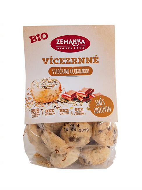 Biopekárna Zemanka Bio viaczrnná sušienky s čokoládou a vločkami 100 g