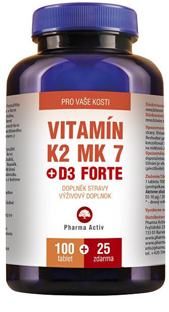 Zobrazit detail výrobku Pharma Activ Vitamín K2 MK7 + D3 FORTE 100 tbl. + 25 tbl. ZDARMA