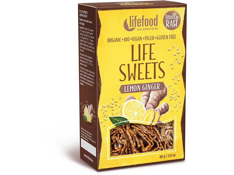 Lifefood Bio Life sweets Zázvorové s citronovou kůrou 80g