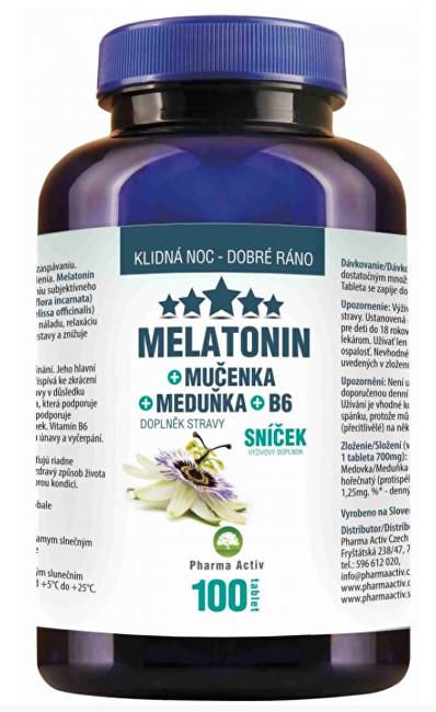 Zobrazit detail výrobku Pharma Activ Melatonin Mučenka Meduňka B6 80 tbl. + 20 tbl. ZDARMA