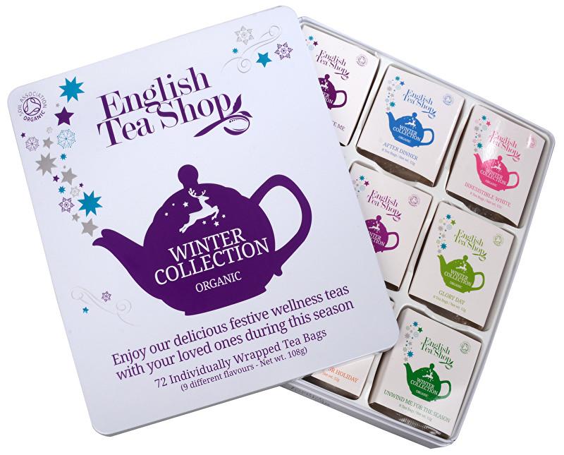 Zobrazit detail výrobku English Tea Shop Dárková plechová kazeta Bílá - Vánoční zima BIO 72 sáčků/9 příchutí
