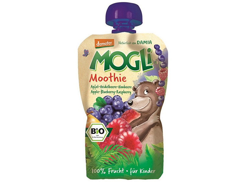 MOGLI Bio Ovocné pyré Moothie jablko borůvka malina bez cukru 100g