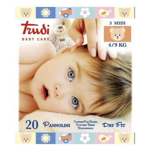 Zobrazit detail výrobku Trudi Dětské pleny Dry Fit s vrstvou Perfo-Soft velikost Medium 4-9 kg 20 ks
