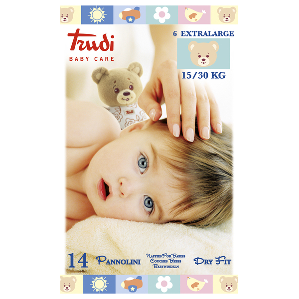 Zobrazit detail výrobku Trudi Dětské pleny Dry Fit s vrstvou Perfo-Soft velikost XL 15-30 kg 14 ks