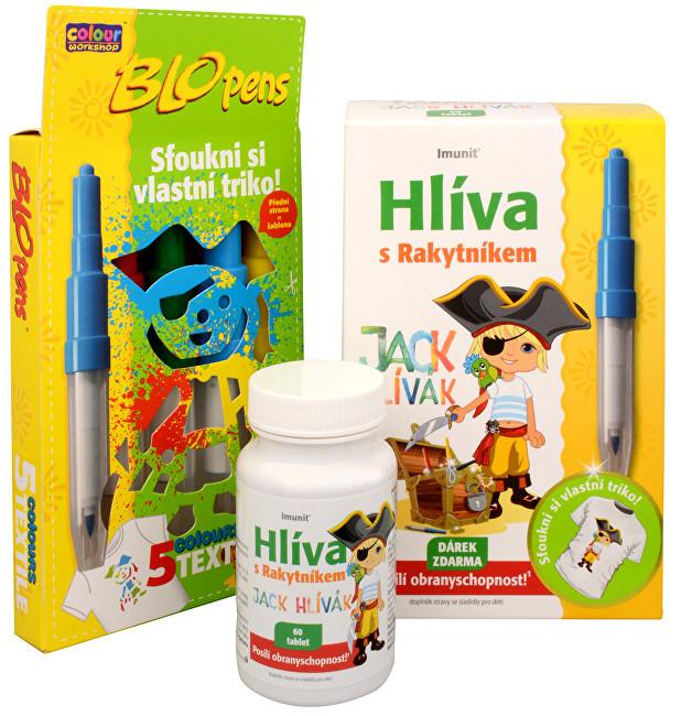 Imunit Hlíva ústřičná pro děti s rakytníkem Jack Hlívák 60 tbl. + Foukací fixy ZDARMA