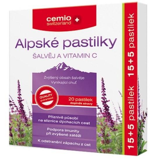Cemio Cemio Alpské pastilky ŠALVĚJ A VITAMIN C pst.15+5