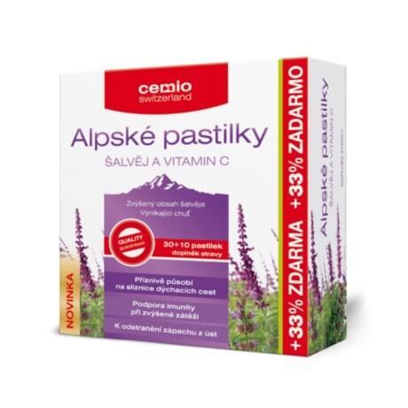 Cemio Cemio Alpské pastilky ŠALVĚJ A VITAMIN C pst.30+10