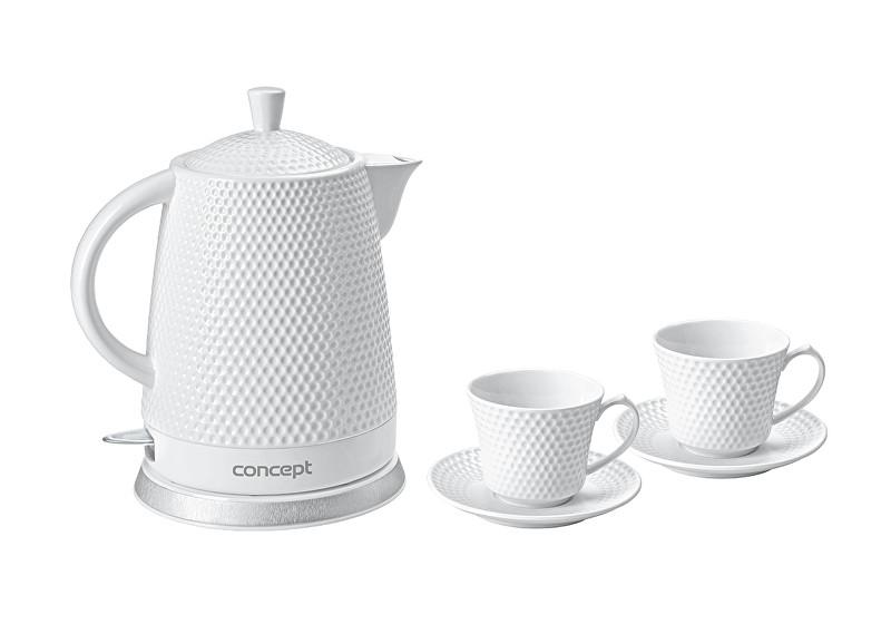 Zobrazit detail výrobku Concept Rychlovarná konvice keramická 1,5 l se dvěma šálky a podšálky ZDARMA - RK-0040