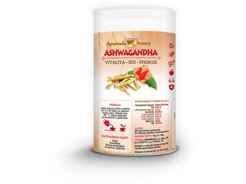 Zobrazit detail výrobku honeyherbs Ajurvéda med Ashwaganda 5x15g TUBUS - vitalita-sex-energie