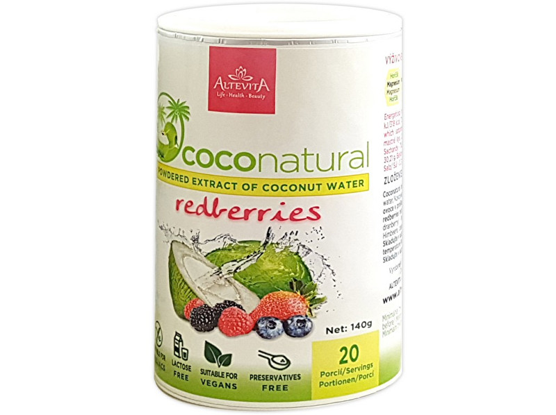Altevita Coco natural 140g Tubus Redberries mix - instantní kokosová voda