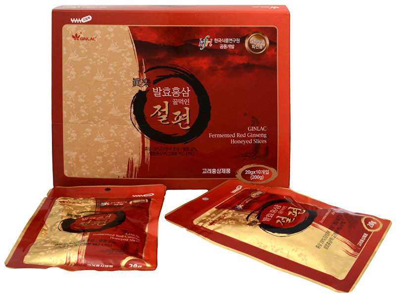 Zobrazit detail výrobku GINLAC Ženšenové plátky naložené v medu 10 x 20 g rodinné balení