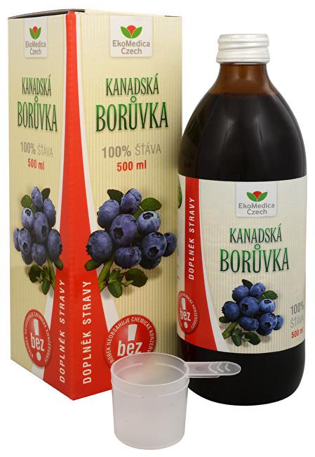 EkoMedica Czech Kanadská čučoriedka - 100% šťava z plodov kanadskej čučoriedky 500 ml