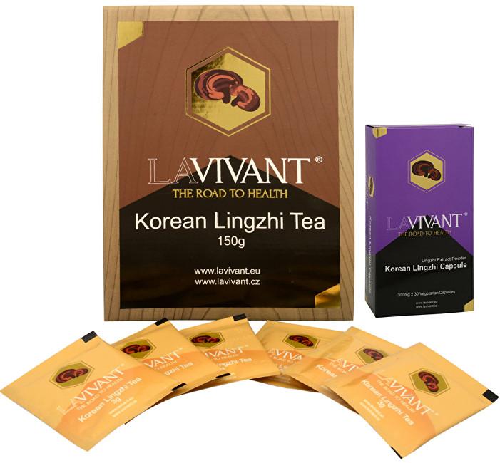 Korean Lingzhi (Ganoderma, reishi) 30 kapslí  + Korean Lingzhi Tea 50 x 3 g